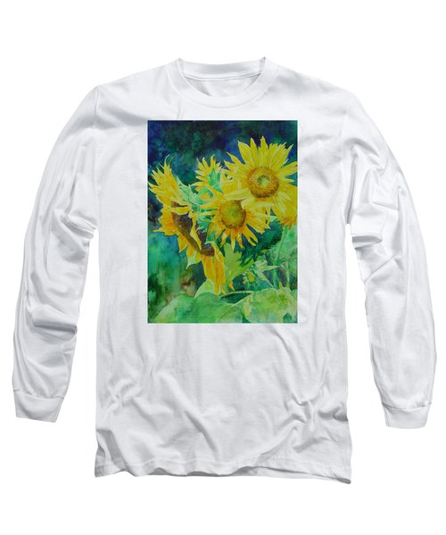 Colorful Original Sunflowers Flower Garden Art Artist K. Joann Russell Long Sleeve T-Shirt