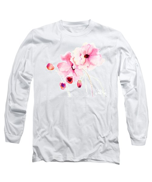 Colorful Pink Flowers Long Sleeve T-Shirt
