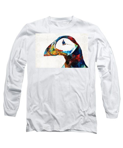 Colorful Puffin Art By Sharon Cummings Long Sleeve T-Shirt