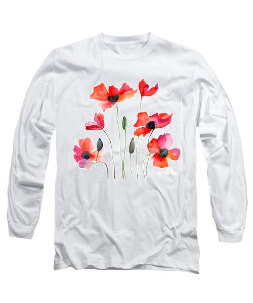 Colorful Red Flowers Long Sleeve T-Shirt