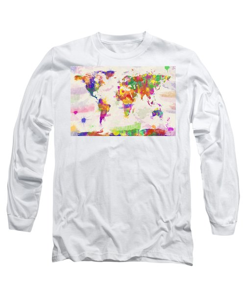 Colorful Watercolor World Map Long Sleeve T-Shirt