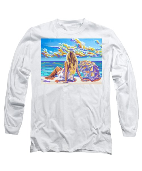 Colorful Woman At The Beach Long Sleeve T-Shirt by Tim Gilliland