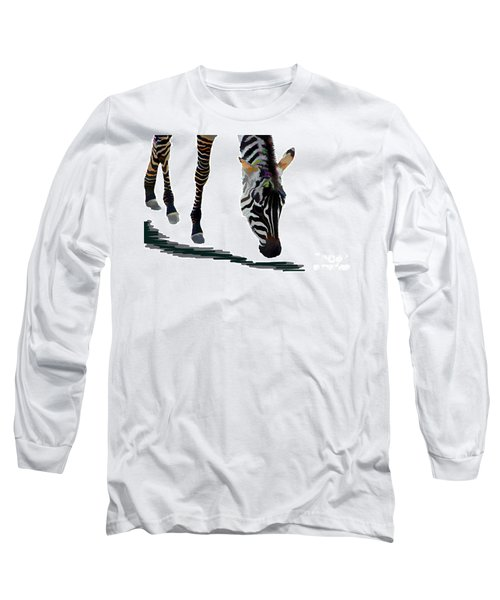 Long Sleeve T-Shirt featuring the digital art Colorful Zebra 2 by Teresa Zieba