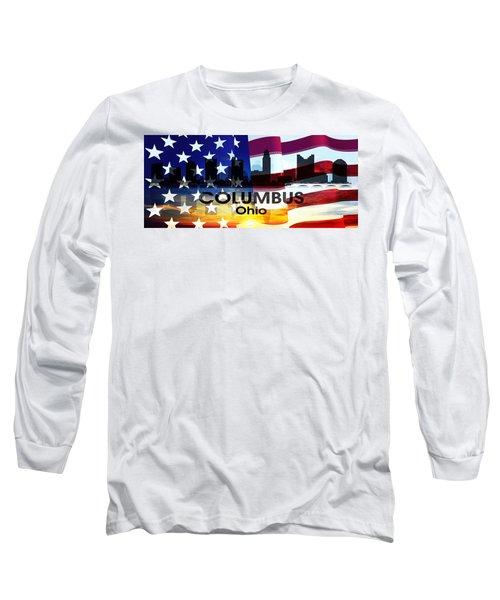 Columbus Oh Patriotic Large Cityscape Long Sleeve T-Shirt