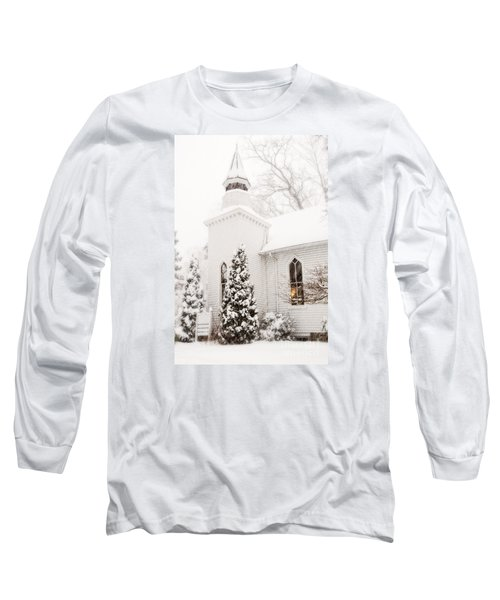 Long Sleeve T-Shirt featuring the photograph White Christmas In Maryland Usa by Vizual Studio