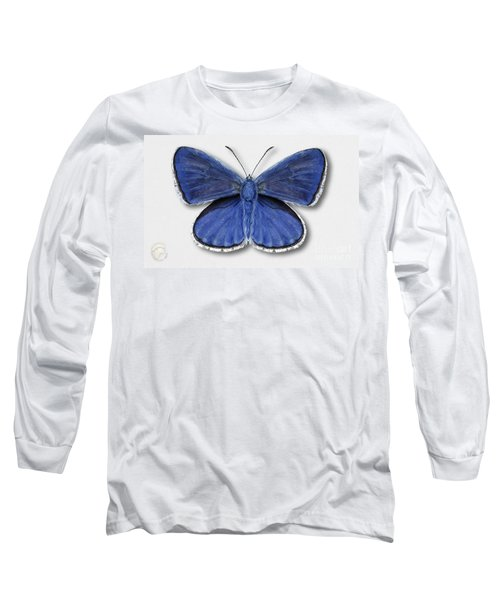 Common Blue Butterfly - Polyommatus Icarus Butterfly Naturalistic Painting - Nettersheim Eifel Long Sleeve T-Shirt