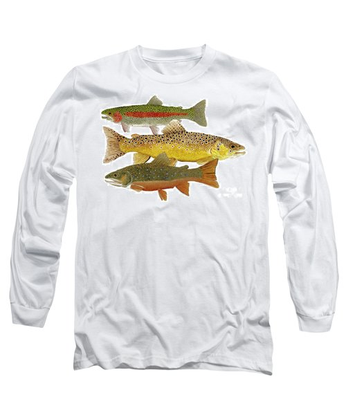 Long Sleeve T-Shirt featuring the painting Common Trout  Rainbow Brown And Brook by Thom Glace