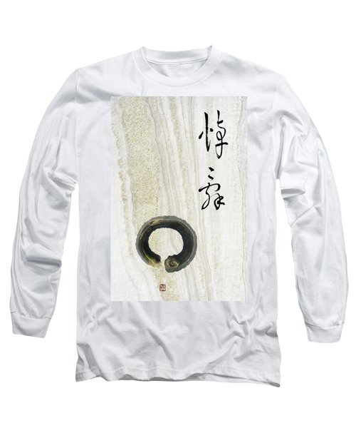 Long Sleeve T-Shirt featuring the mixed media Condolences Tooji With Enso Zencircle by Peter v Quenter