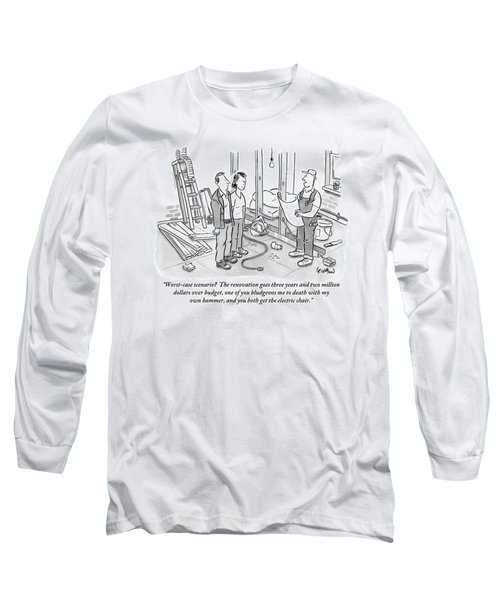 Contractor Examining A Blueprint And Speaking Long Sleeve T-Shirt by Robert Leighton