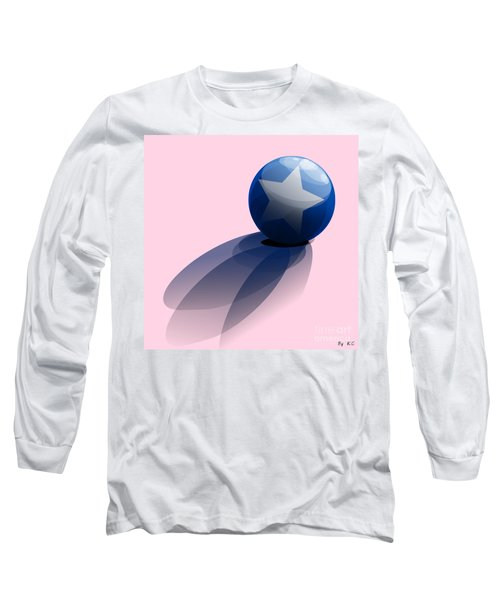 Blue Ball Decorated With Star Long Sleeve T-Shirt