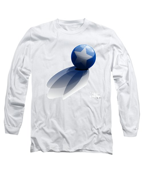 Long Sleeve T-Shirt featuring the digital art Blue Ball Decorated With Star Grass White Background by R Muirhead Art