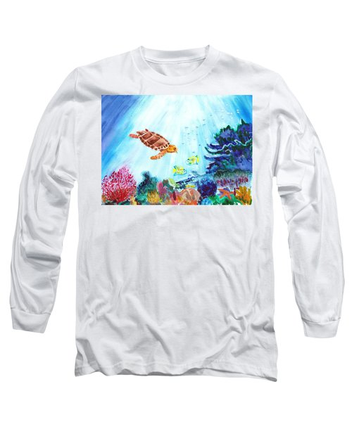 Long Sleeve T-Shirt featuring the painting Coral Reef by Donna Walsh