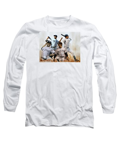 Core  Derek Jeter Mariano Rivera  Andy Pettitte Jorge Posada Long Sleeve T-Shirt by Iconic Images Art Gallery David Pucciarelli