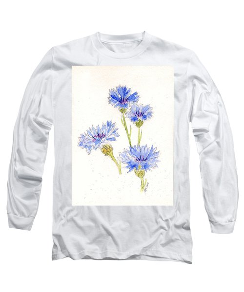 Long Sleeve T-Shirt featuring the painting Cornflowers by Stephanie Grant