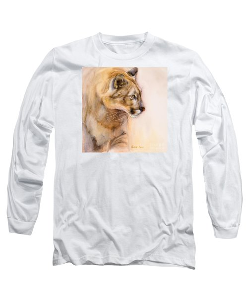 Long Sleeve T-Shirt featuring the painting Cougar On The Prowl by Bonnie Rinier