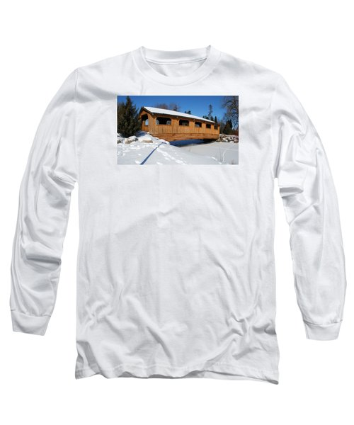 Long Sleeve T-Shirt featuring the photograph Covered Bridge Crossing The Stream by Janice Adomeit