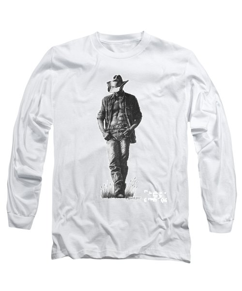Long Sleeve T-Shirt featuring the drawing Cowboy by Marianne NANA Betts