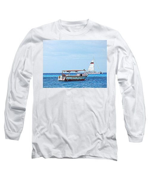 Cozumel Excursion Boats Long Sleeve T-Shirt by Debra Martz