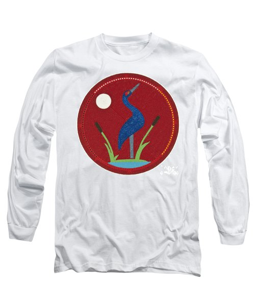 Cradleboard Beadwork Summer Crane Long Sleeve T-Shirt