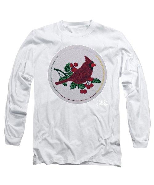 Cradleboard Beadwork Winter Cardinal Long Sleeve T-Shirt