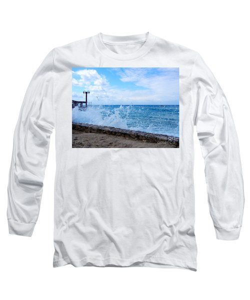 Long Sleeve T-Shirt featuring the photograph Crashing Waves In Cozumel by Debra Martz