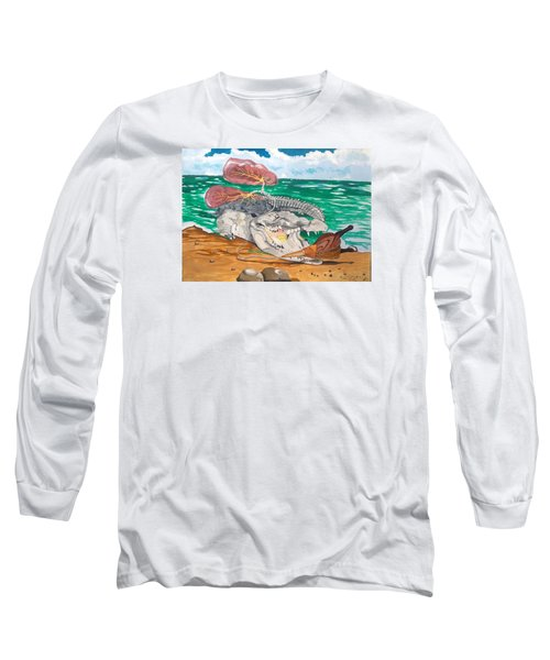 Long Sleeve T-Shirt featuring the painting Crocodile Emphysema by Lazaro Hurtado