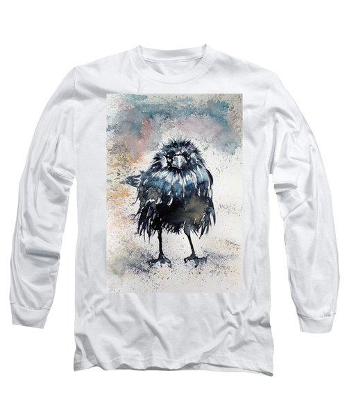 Crow After Rain Long Sleeve T-Shirt by Kovacs Anna Brigitta