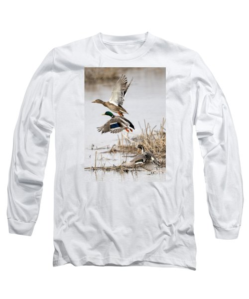 Crowded Flight Pattern Long Sleeve T-Shirt by Mike Dawson
