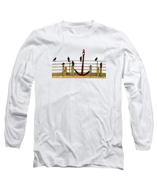 Crows At Anchor Long Sleeve T-Shirt by John King