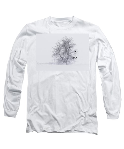 Crows On Tree In Winter Snow Storm Long Sleeve T-Shirt
