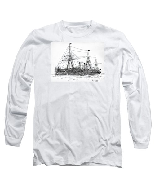 Long Sleeve T-Shirt featuring the drawing Cunard Liner Umbria 1880's by Ira Shander