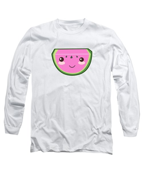 Cute Watermelon Illustration Long Sleeve T-Shirt by Pati Photography