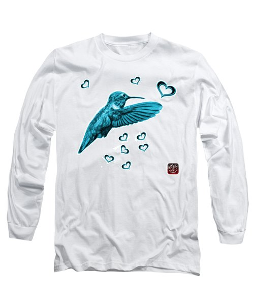 Long Sleeve T-Shirt featuring the digital art Cyan Hummingbird - 2055 F S M by James Ahn