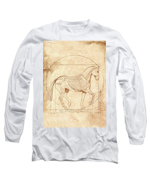 da Vinci Horse in Piaffe Long Sleeve T-Shirt by Catherine Twomey