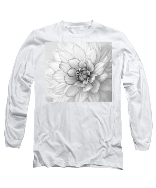 Dahlia Flower Black And White Long Sleeve T-Shirt