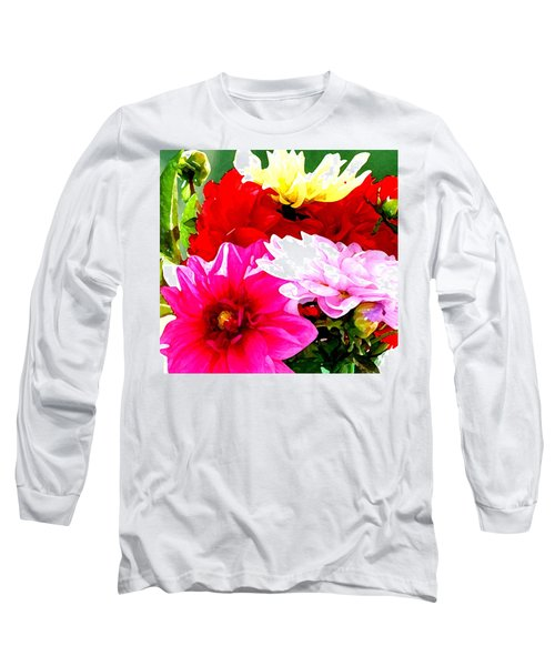 Dahlias  Long Sleeve T-Shirt by Lehua Pekelo-Stearns