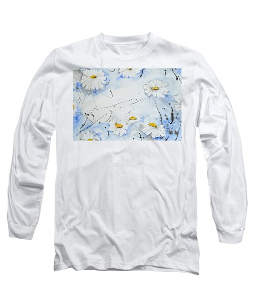 Long Sleeve T-Shirt featuring the painting Daisies - Flower by Ismeta Gruenwald