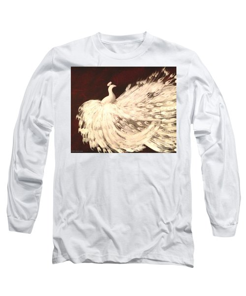 Long Sleeve T-Shirt featuring the painting Dancing Peacock Cream by Anita Lewis