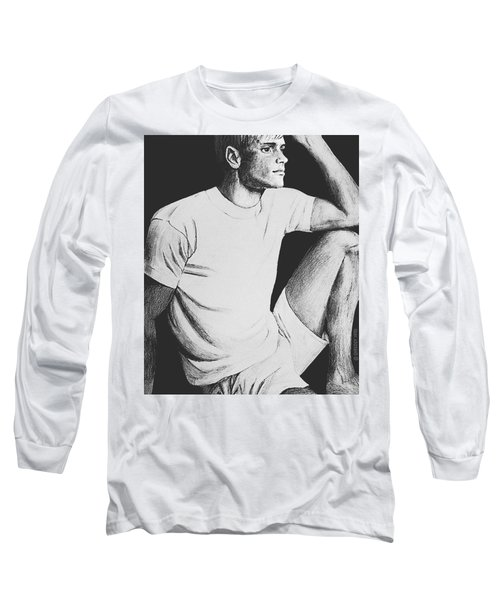 Long Sleeve T-Shirt featuring the drawing Daydreaming by Sophia Schmierer