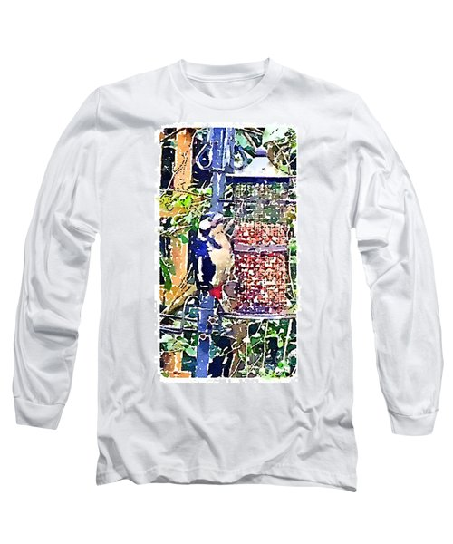 Dendrocopos Major 'great Spotted Woodpecker' Long Sleeve T-Shirt