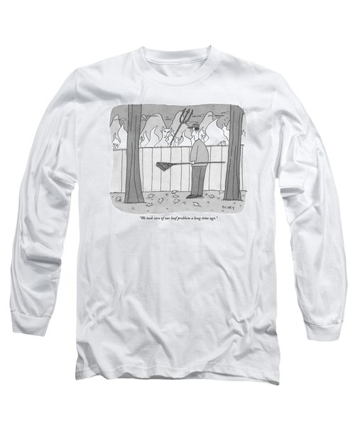 Devil And A Man Look At Each Other Over A Fence Long Sleeve T-Shirt