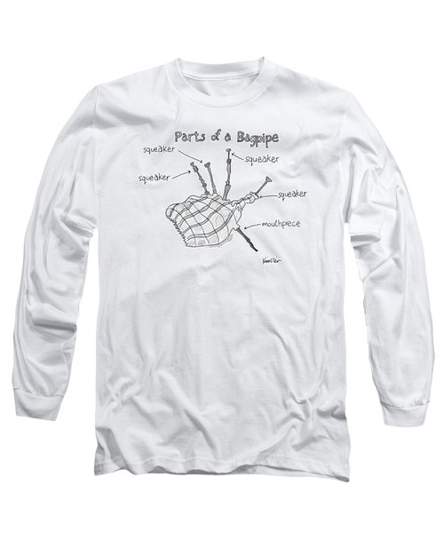 Diagram Entitled Parts Of A Bagpipe Long Sleeve T-Shirt