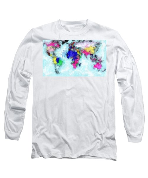 Digital Art Map Of The World Long Sleeve T-Shirt