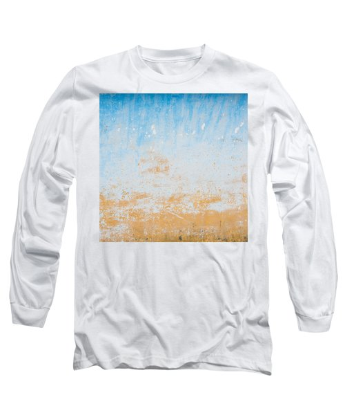 Dilapidated Beige And Blue Wall Texture Long Sleeve T-Shirt