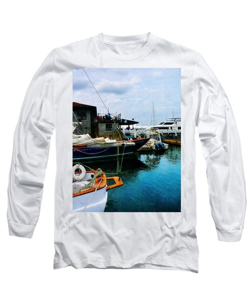 Long Sleeve T-Shirt featuring the photograph Docked Boats In Newport Ri by Susan Savad