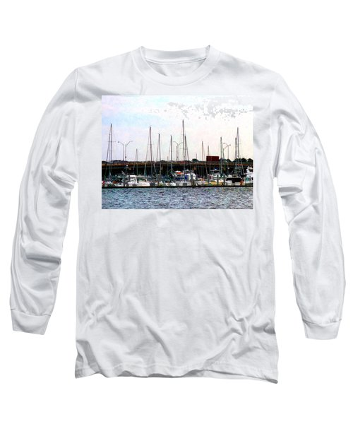 Long Sleeve T-Shirt featuring the photograph Docked Boats Norfolk Va by Susan Savad