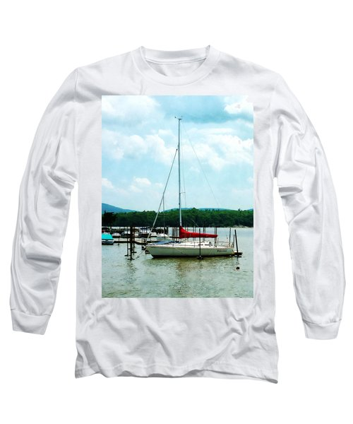 Long Sleeve T-Shirt featuring the photograph Docked On The Hudson River by Susan Savad
