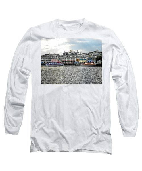 Docking At The Boardwalk Walt Disney World Long Sleeve T-Shirt by Thomas Woolworth