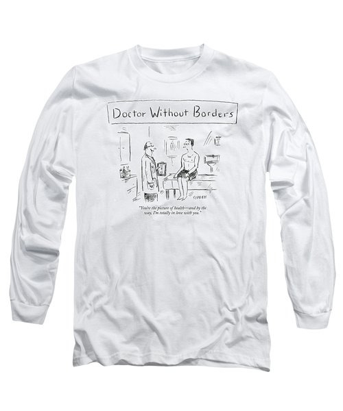 Doctor Talking To Patient On Examing Table Long Sleeve T-Shirt