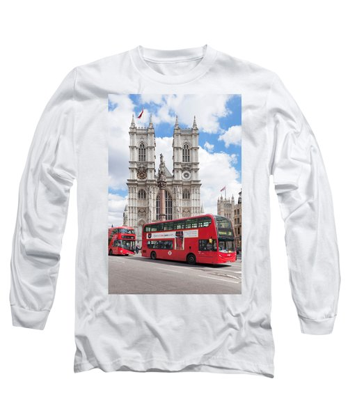 Double-decker Buses Passing Long Sleeve T-Shirt by Panoramic Images